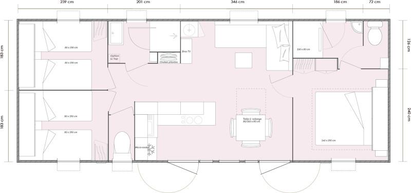 Mobil home evasion o 39 hara 1064 3 chambres 2 salles de bain for Mobilhome 3 chambres